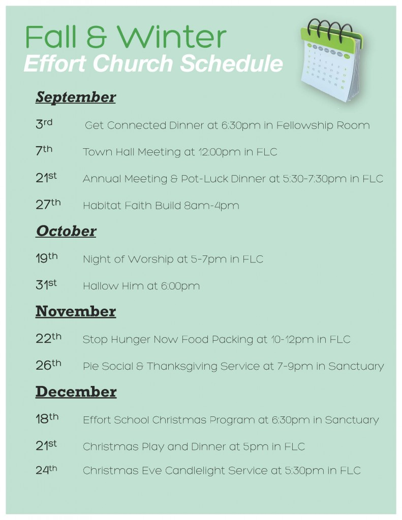 Fall-Winter Schedule